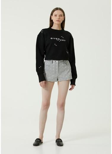 Givenchy Givenchy   Logo Baskılı Denim Şort 101611570 Siyah